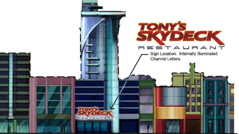 Tony's Skydeck Restaurant Exterior Elevation