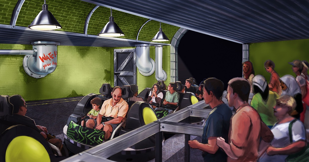 Ride Loading Concept Art from Spider-Man Doc Ock's Revenge Spinning Coaster